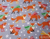 Christmas Flannel Fabric - Foxes with Scarves - By the yard - 100% Cotton Flannel