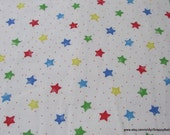 Flannel Fabric - Multi Stars on White - By the yard - 100% Cotton Flannel