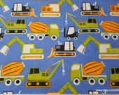 Flannel Fabric - Construction Vehicles - By the yard - 100% Cotton Flannel