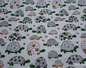 Flannel Fabric - Orange Green Turtles - By the yard - 100% Cotton Flannel
