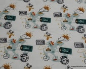 Flannel Fabric - World Traveler Allover - By the yard - 100% Cotton Flannel