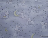 Premium Flannel Fabric - Bunnies and Little Ones with Moons Grey Premium Flannel - By the Yard - 100% Cotton Flannel