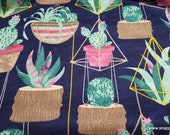Flannel Fabric - Hanging Succulents and Cacti - By the yard - 100% Cotton Flannel