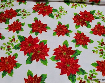 Christmas Flannel Fabric - Classic Christmas Poinsettia  - By the yard - 100% Cotton Flannel