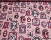 Character Flannel Fabric - 101 Dalmatians Family Frames on Pink - By the yard - 100% Cotton Flannel