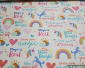 Flannel Fabric - Magic is Real Unicorn - By the yard - 100% Cotton Flannel