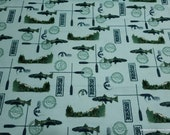 Flannel Fabric - Fishing - By the yard - 100% Cotton Flannel