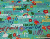 Flannel Fabric - Friendship Words - By the Yard - 100% Cotton Flannel