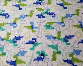 Flannel Fabric - Blue Green Dinosaurs - By the yard - 100% Cotton Flannel