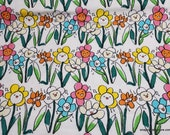 Flannel Fabric - Singing Flowers - By the Yard - 100% Cotton Flannel