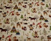 Flannel Fabric - Animals and Tents - By the yard - 100% Cotton Flannel