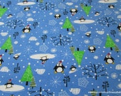 Christmas Flannel Fabric - Santa Penguins Blue- By the yard - 100% Cotton Flannel