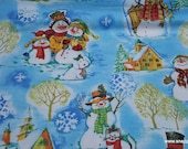 Christmas Flannel Fabric - Snowman Family - By the yard - 100% Cotton Flannel