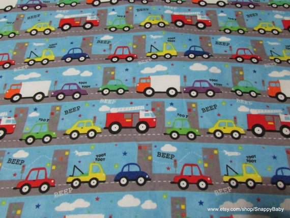 Flannel Fabric - Traffic - By the Yard - 100% Cotton Flannel