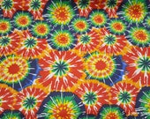 Flannel Fabric - Classic Circle Tie Dye - By the yard - 100% Cotton Flannel
