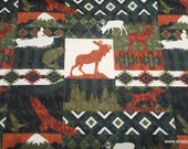 Flannel Fabric - Autumn Patchwork Animals - By the yard - 100% Cotton Flannel