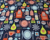 Flannel Fabric - Retro Kitchen - By the yard - 100% Cotton Flannel