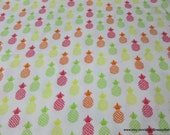 Flannel Fabric - Bright Pineapples - By the yard - 100% Cotton Flannel