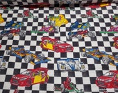Flannel Fabric - Racecar on Checkered - By the Yard - 100% Cotton Flannel