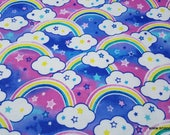 Flannel Fabric - Colorful Rainbow - By the yard - 100% Cotton Flannel