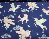 Flannel Fabric - Pegasus Unicorn Navy - By the yard - 100% Cotton Flannel