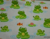 Flannel Fabric - Frogs and Turtles on Lilypads - By the Yard - 100% Cotton Flannel