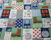 Flannel Fabric - Camping Patch - By the yard - 100% Cotton Flannel