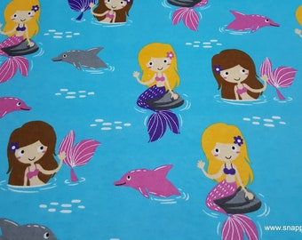 Flannel Fabric - Mermaids and Dolphins - By the Yard - 100% Cotton Flannel