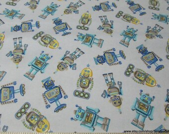 Flannel Fabric - Rough Robot Grey Blue  - By the yard - 100% Cotton Flannel