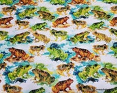 Flannel Fabric - Watercolor Frogs - By the yard - 100% Cotton Flannel