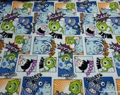 Character Flannel Fabric - Monsters Inc Mike Sulley Boo - By the yard - 100% Cotton Flannel