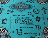 Character Flannel Fabric - Fantastic Beasts Teal - By the Yard - 100% Cotton Flannel