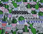 Flannel Fabric - Trendy Potted Cacti - By the yard - 100% Cotton Flannel