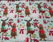Christmas Flannel Fabric - Animals in Scarfs - By the yard - 100% Cotton Flannel