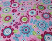 Flannel Fabric - Forest Flowers - By the yard - 100% Cotton Flannel
