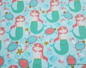 Flannel Fabric - Mermaid Sea Party - By the yard - 100% Cotton Flannel