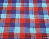 Flannel Fabric - Harper Plaid Aqua Red - By the yard - 100% Cotton Flannel