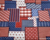 Flannel Fabric - Americana Patch - By the yard - 100% Cotton Flannel