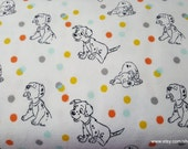 Character Flannel Fabric - 101 Dalmatians and Dots - By the yard - 100% Cotton Flannel