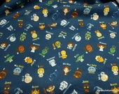 Character Flannel Fabric - Star Wars Alphabet Toss - By the yard - 100% Cotton Flannel