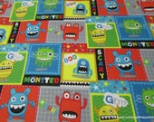 Flannel Fabric - Mayhem Monster Patch - By the yard - 100% Cotton Flannel