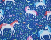 Flannel Fabric - Princess Unicorns - By the yard - 100% Cotton Flannel