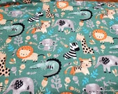 Flannel Fabric - Watercolor Jungle - By the yard - 100% Cotton Flannel