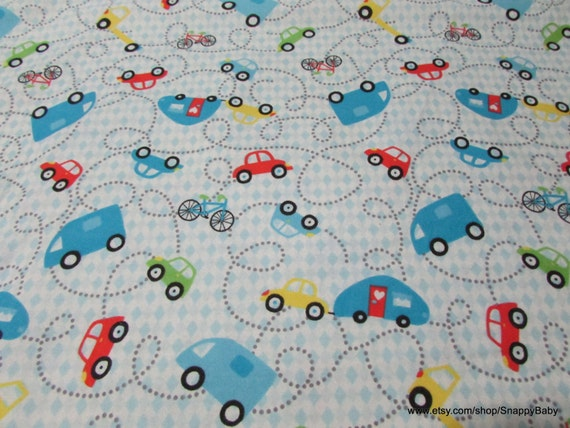 Flannel Fabric - Cars & Bikes - By the Yard - 100% Cotton Flannel