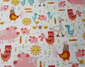 Flannel Fabric - Happy Farm Animals - By the yard - 100% Cotton Flannel