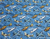 Flannel Fabric - Airplane Fun - By the yard - 100% Cotton Flannel