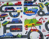 Flannel Fabric - Transportation Roadway - By the yard - 100% Cotton Flannel