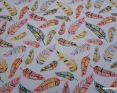 Flannel Fabric - Tropical Feathers - By the yard - 100% Cotton Flannel