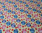 Flannel Fabric - Owls and Hearts Yellow - By the yard - 100% Cotton Flannel