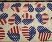 Flannel Fabric - American Hearts - By the yard - 100% Cotton Flannel